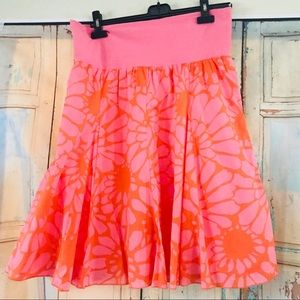 J. Crew floral skirt pink and orange skater style